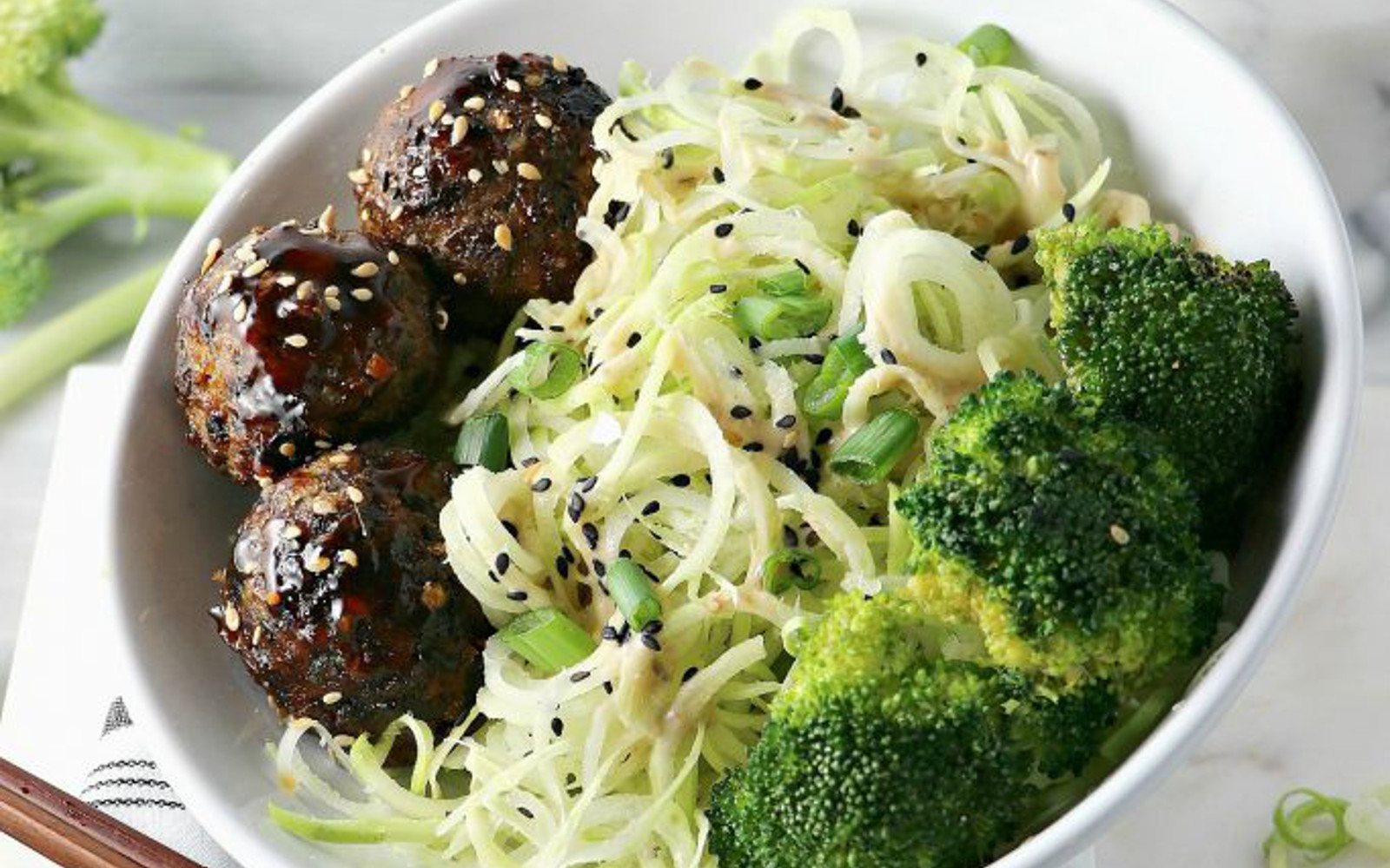 Broccoli Noodles With Asian Veggie Balls c