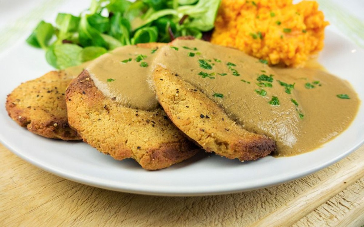 High protein tofu chicken fillets with mushroom gravy and mashed high protein tofu chicken fillets with mushroom gravy and mashed sweet potato vegan gluten free one green planetone green planet forumfinder Image collections