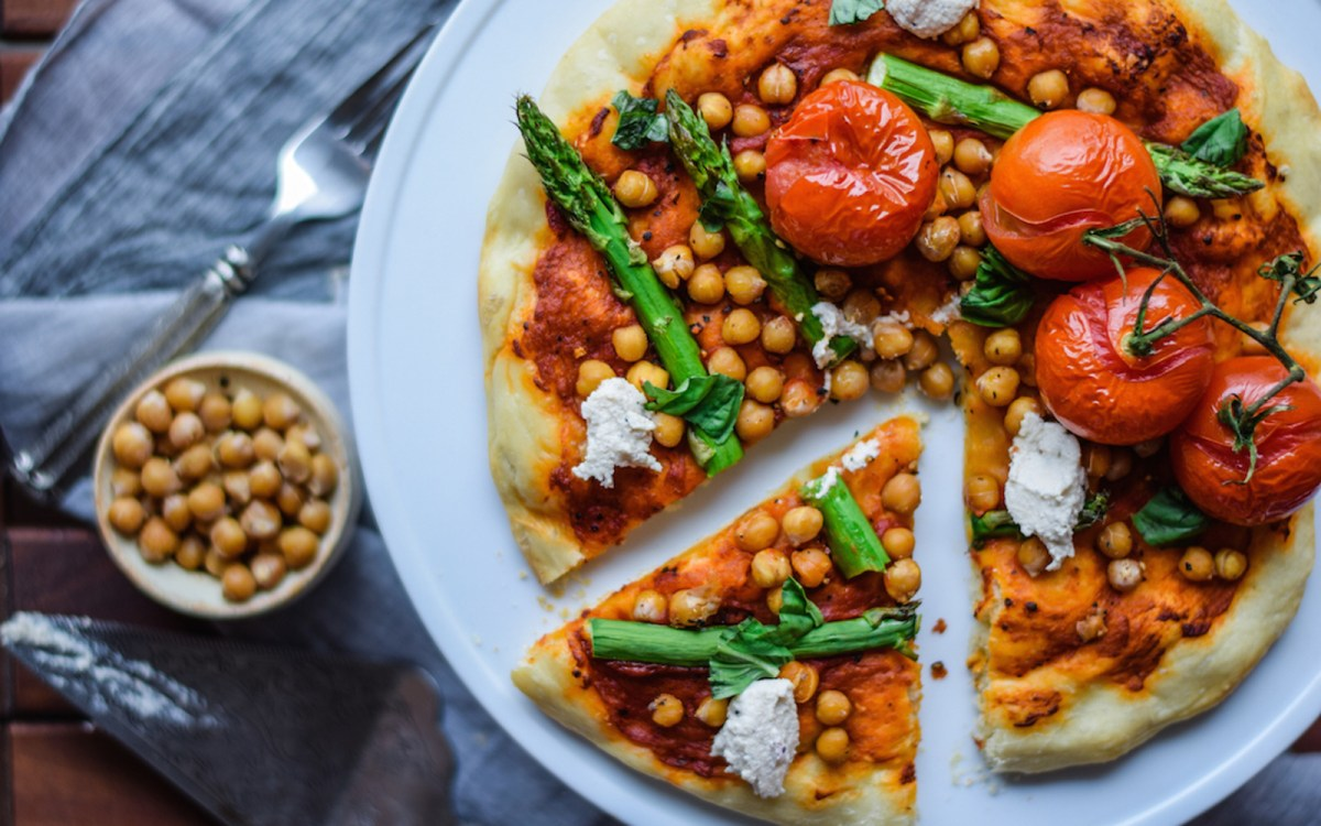 Mediterranean Personal Pizza With Roasted Chickpeas [Vegan