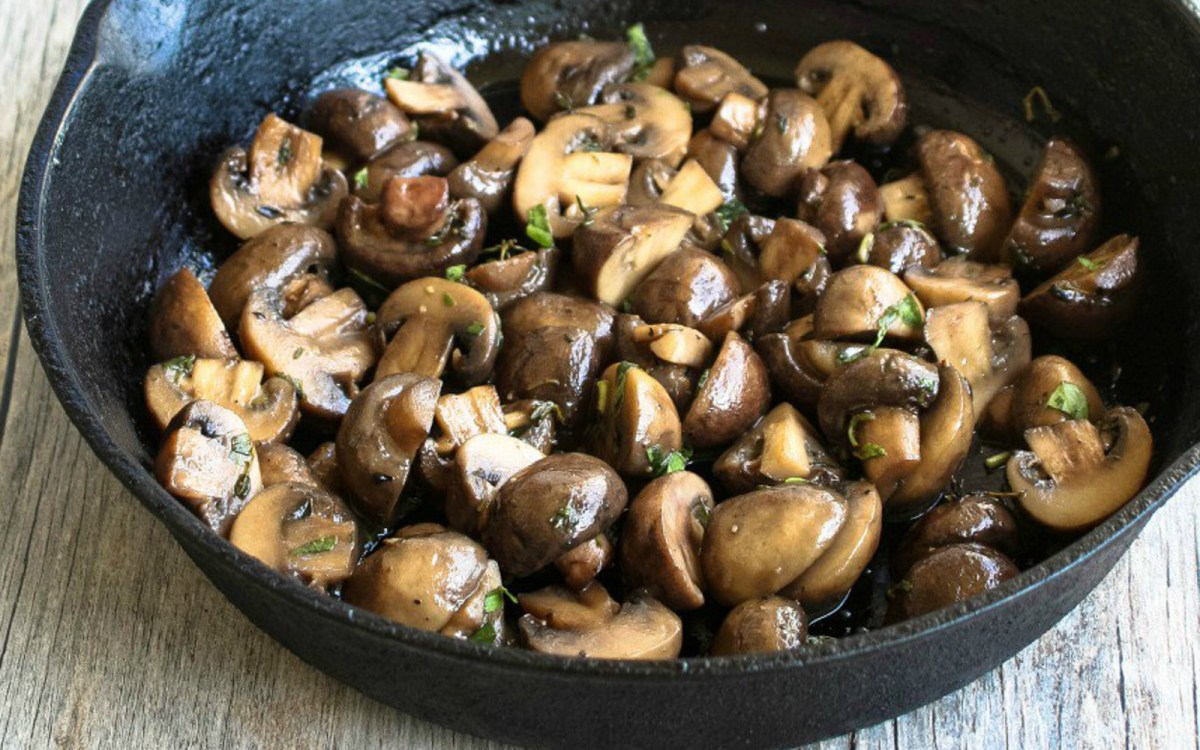 vegan beer buttered mushrooms