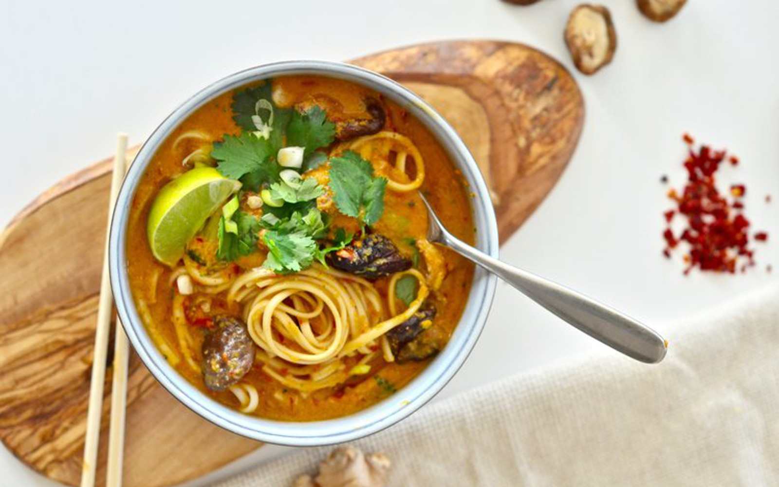 Vegetable Laska Soup With Noodles