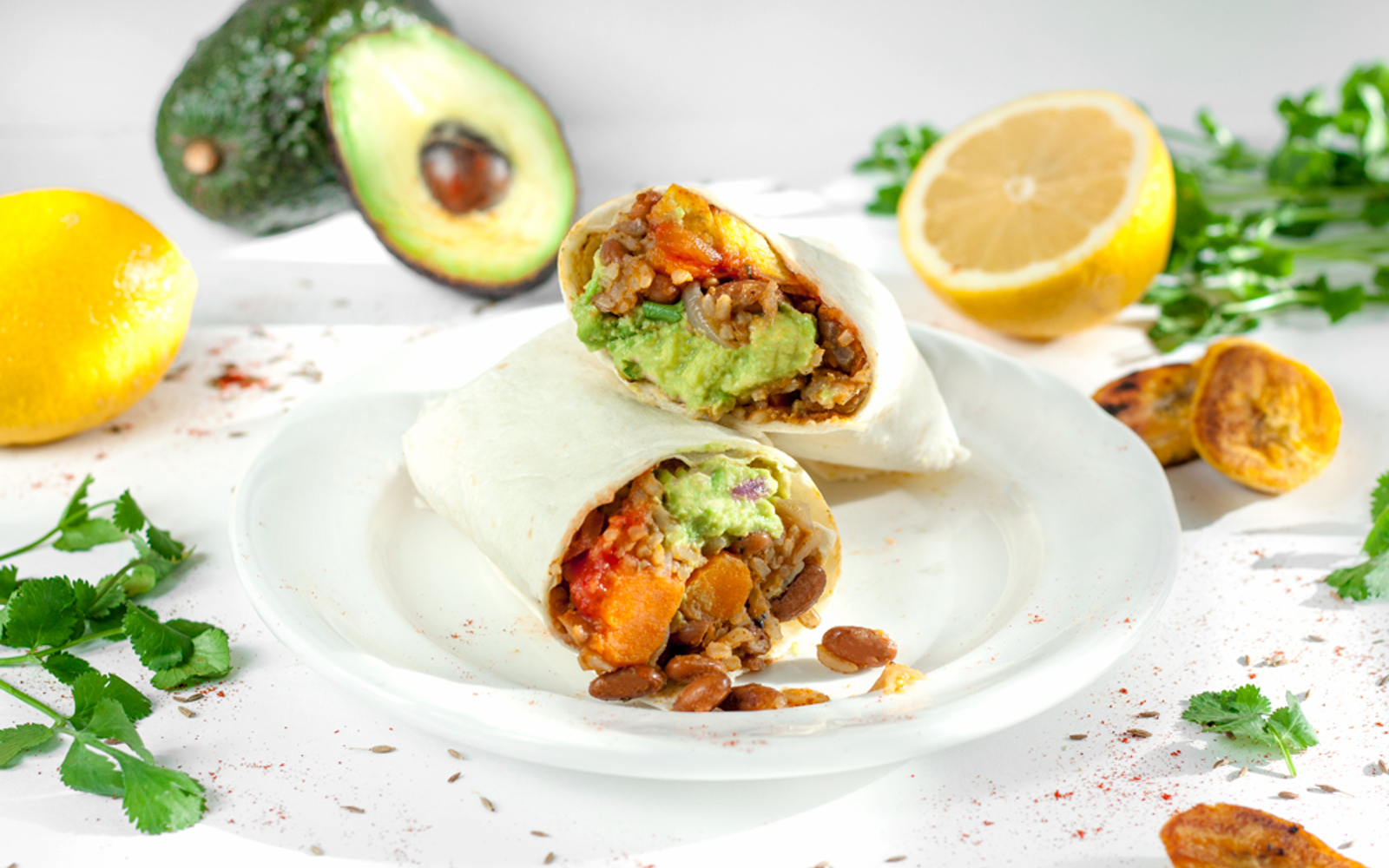 Sweet Potato and Bean Burrito With Plantains and Guacamole