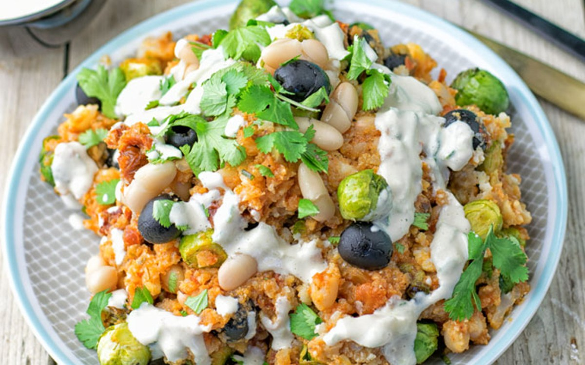 Mediterranean Cauliflower Rice and Roasted Brussels Sprouts Salad