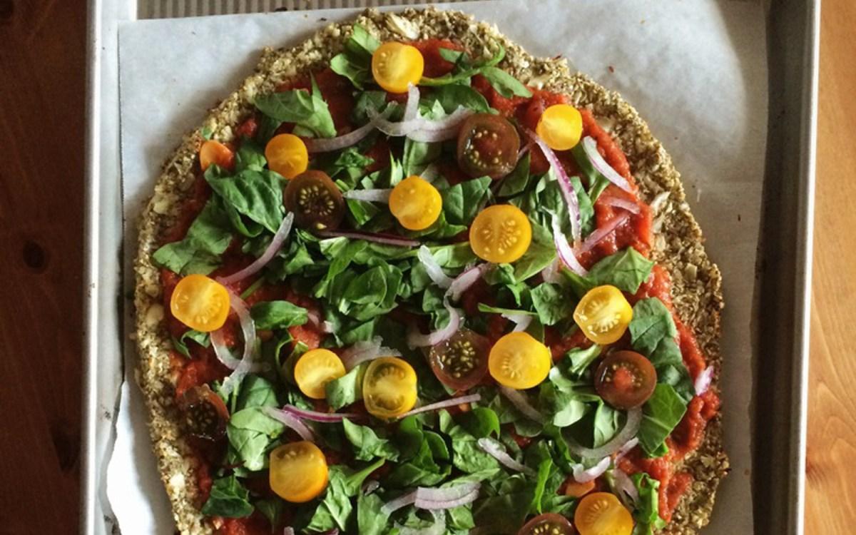 Cauliflower and Pumpkin Seed Crust Pizza [Vegan, Gluten-Free]