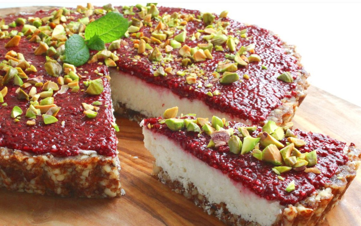 Vegan Coconut Tart With Chia Cherry Jam