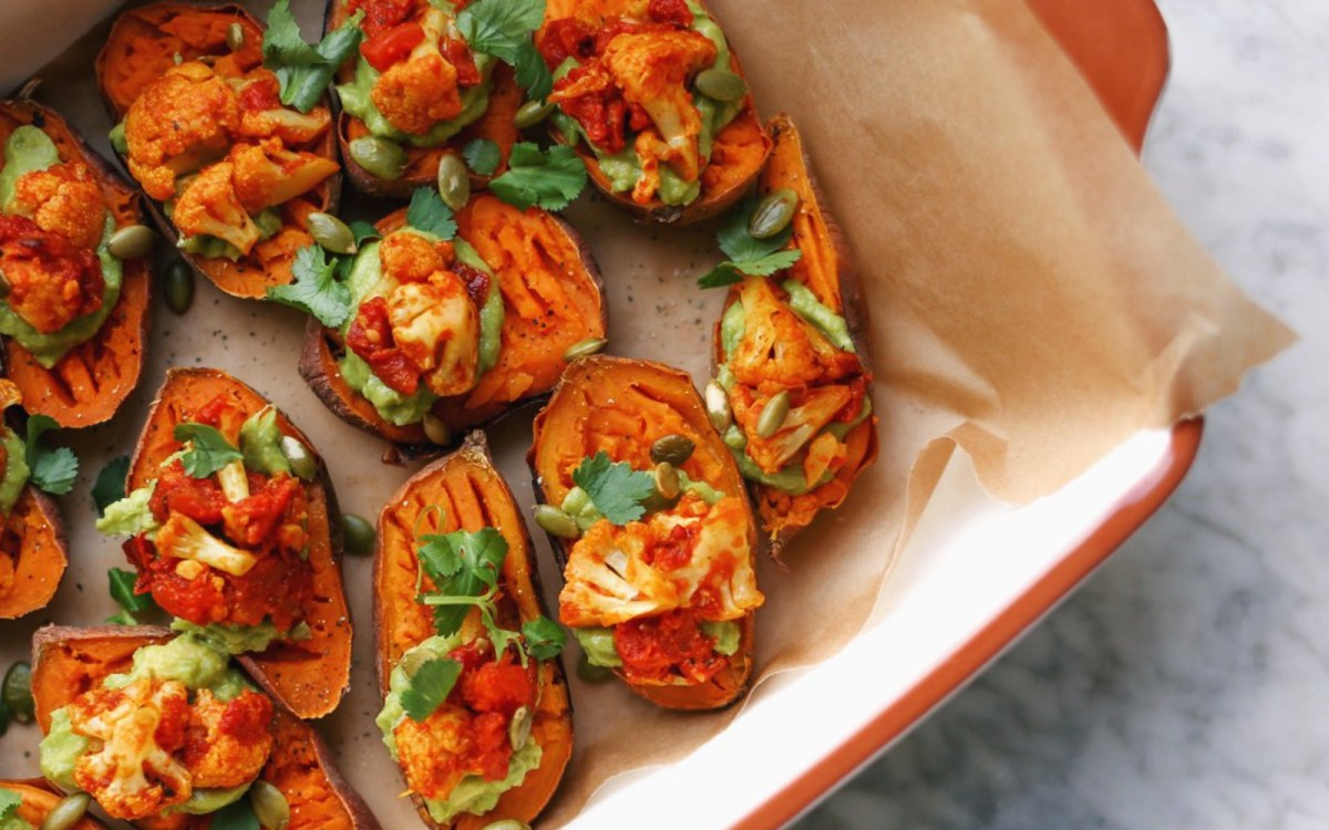 Vegan Sweet Potato Bites With Guacamole and Cauliflower