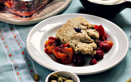 Vegan Berry Peach Breakfast Cobbler With Basil and Cardamom d