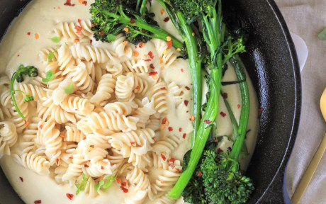 The Best Nut Free Vegan Alfredo Sauce with Pasta and Broccolini