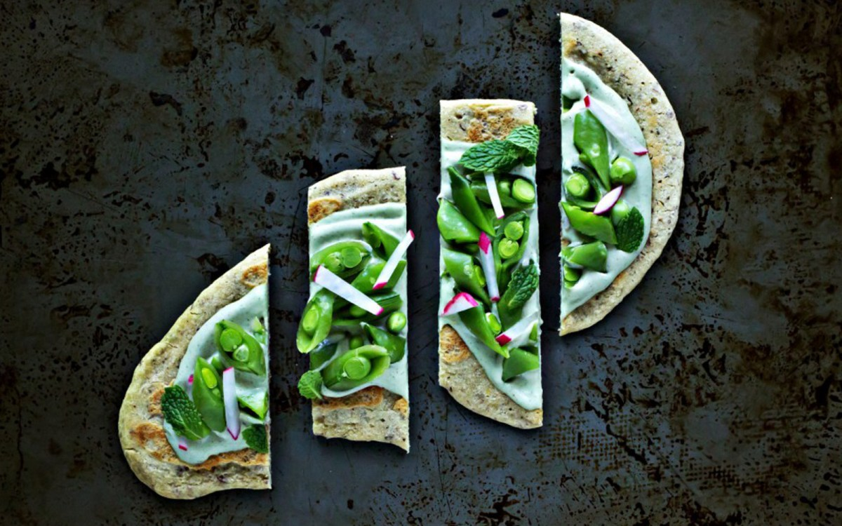 Millet Flatbread With Sugar Snaps and Mint Cashew Ricotta