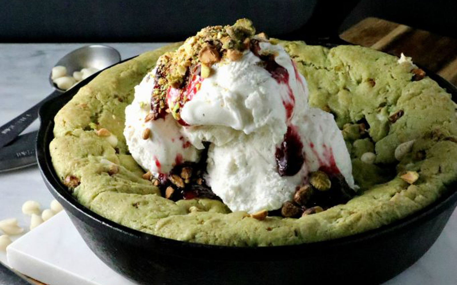 Vegan White Chocolate Pistachio Skillet Cookie