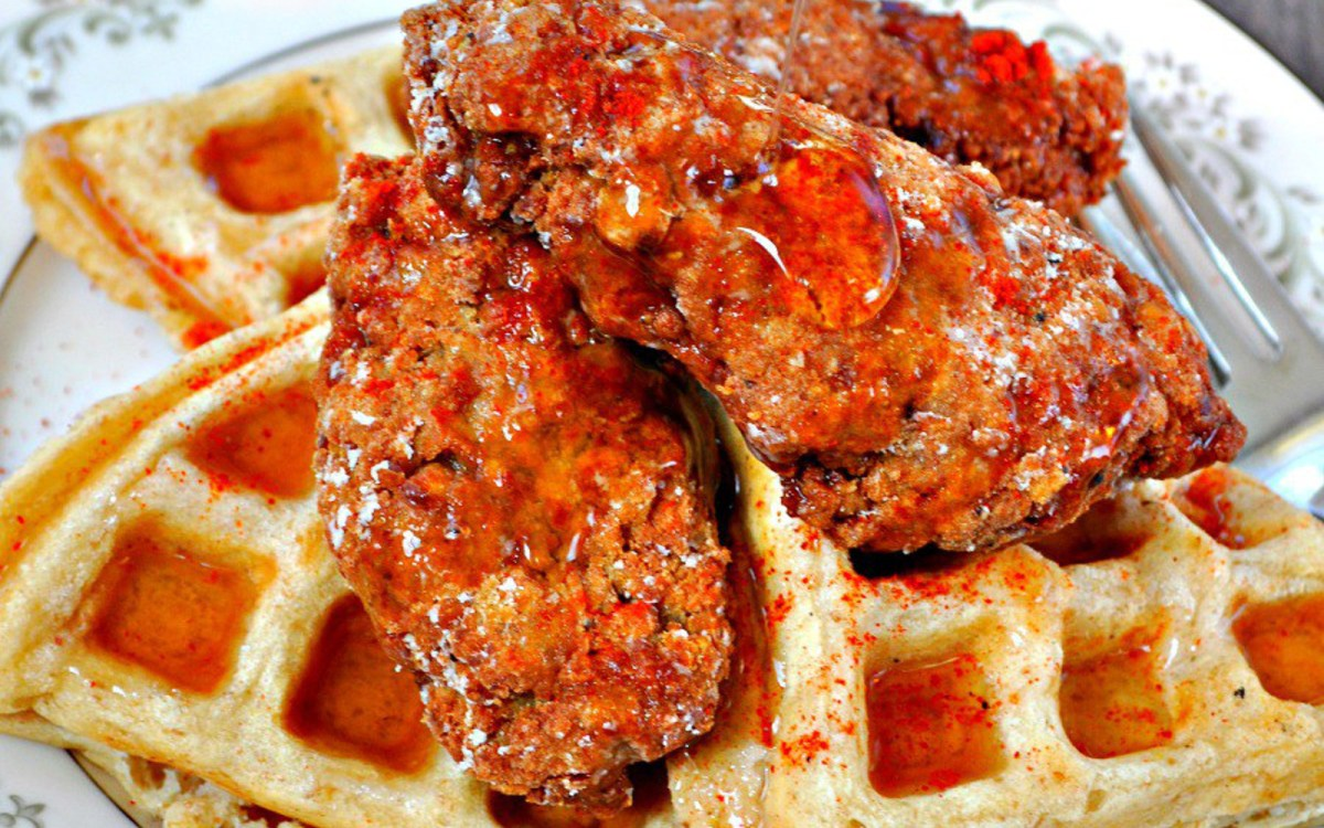 Vegan 'Chicken' and Waffles With Spicy Maple Syrup