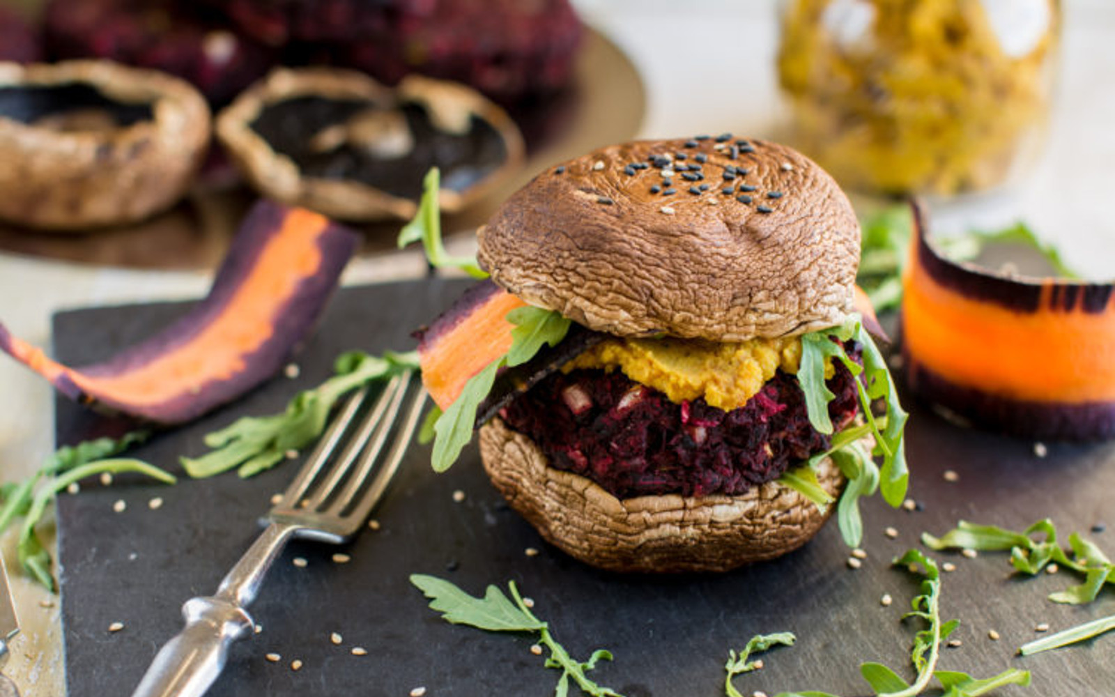 Grilled Portobello Burger With Black Bean Beet Patty