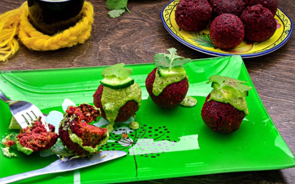 Roasted Beet Falafel With Green Tahini Dip [Vegan, Gluten ...