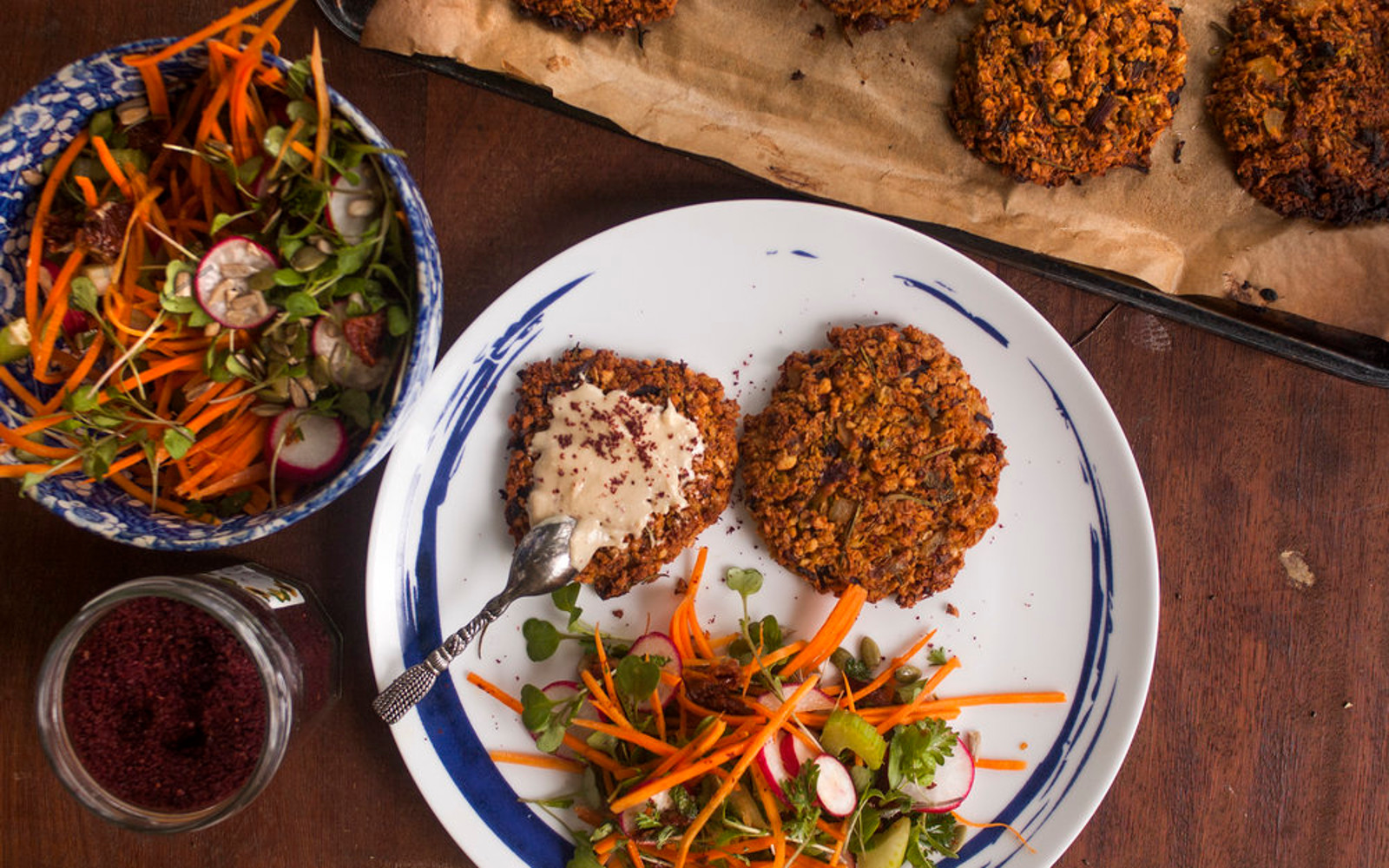 Sprouted Chickpea Falafel Burgers