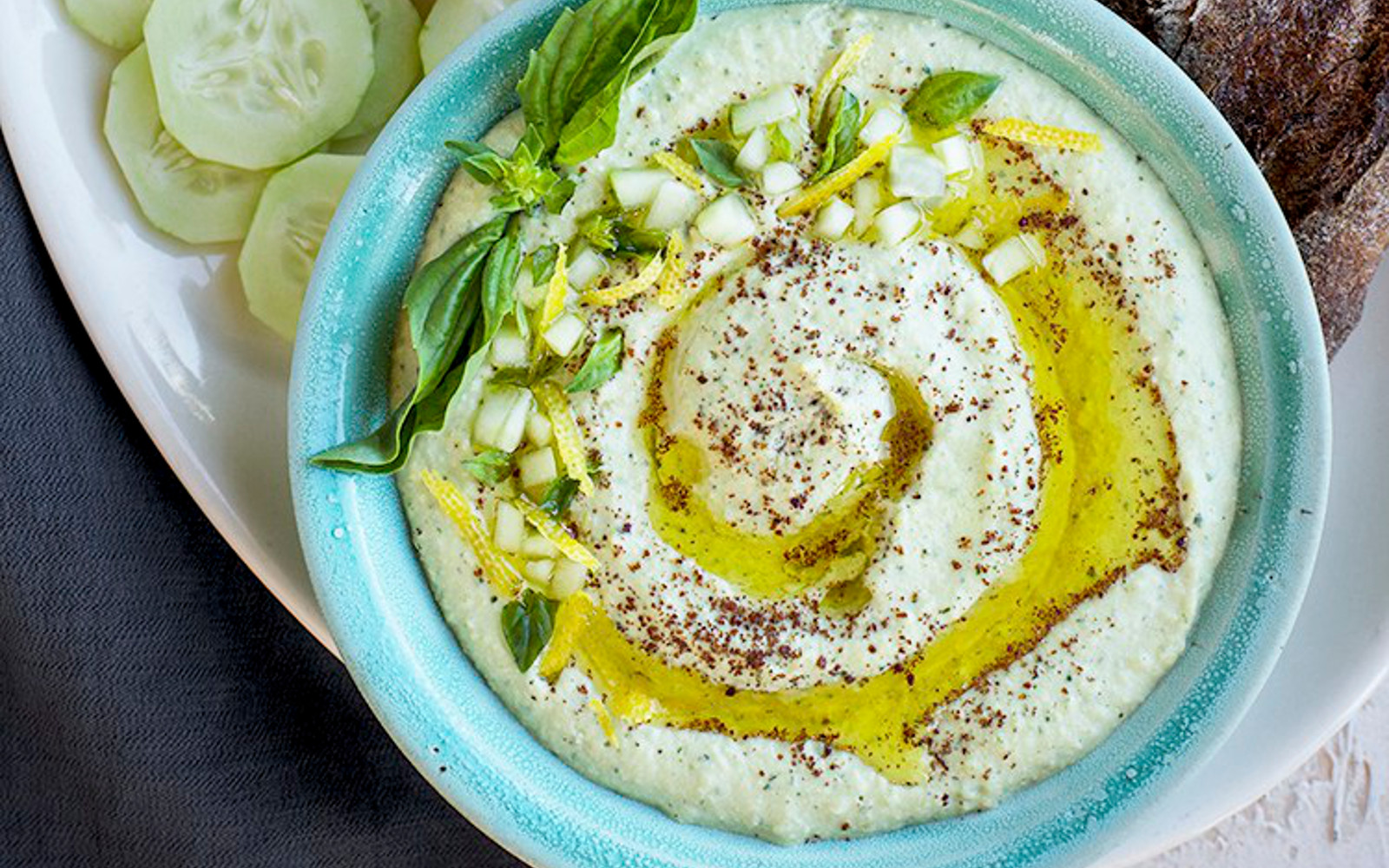 Vegan Sprouted Meyer Lemon Basil Hummus