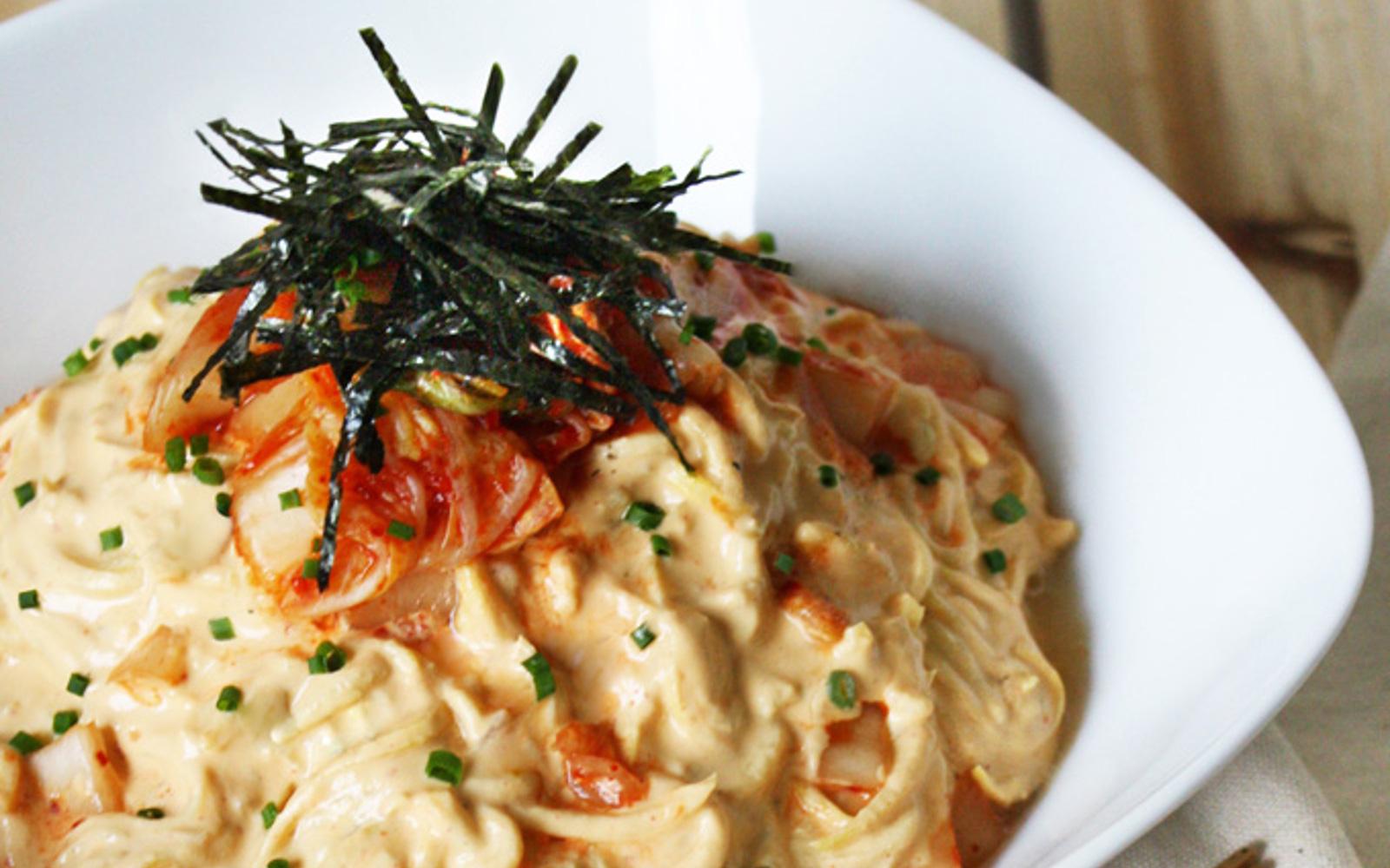 Creamy Kimchi Zucchini Pasta