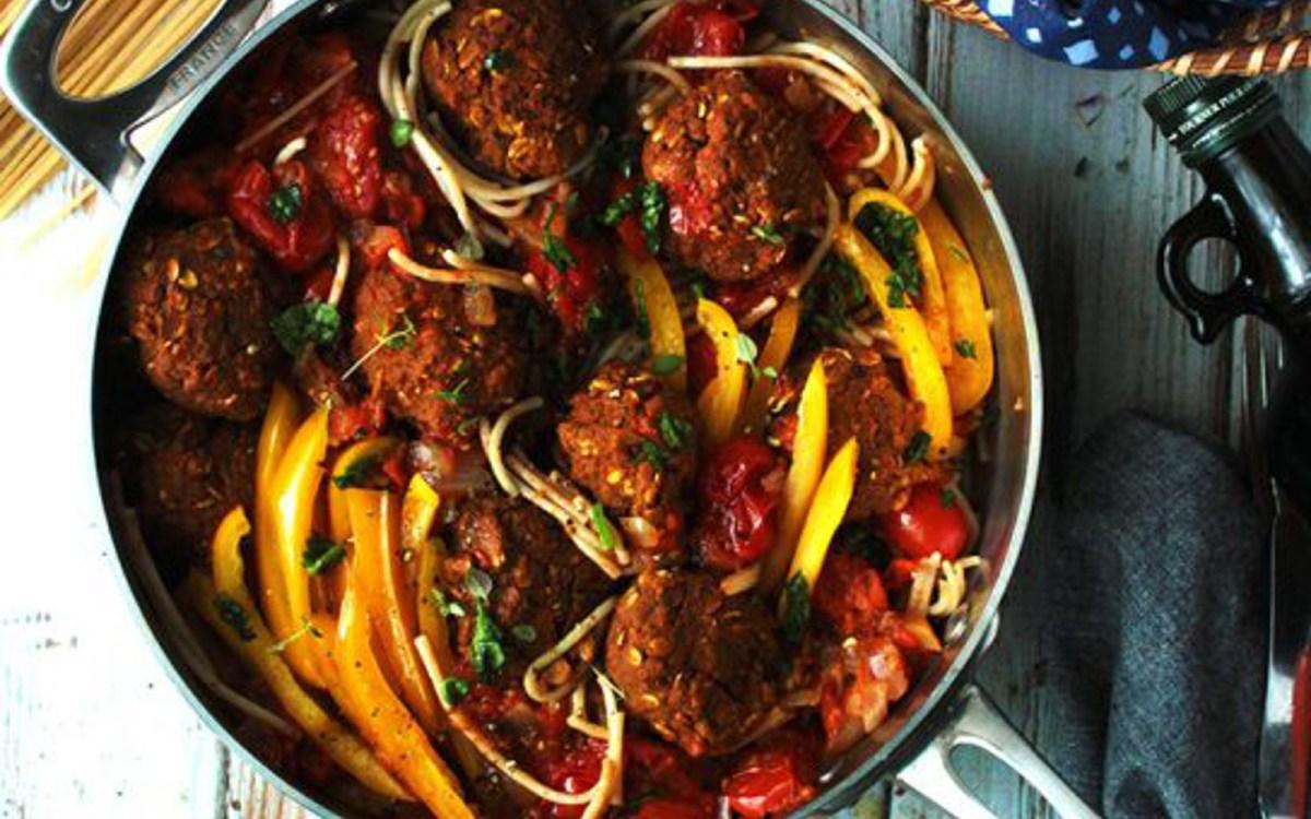 Vegan Eggplant Meatballs With Baharat Spiced Tomato Sauce