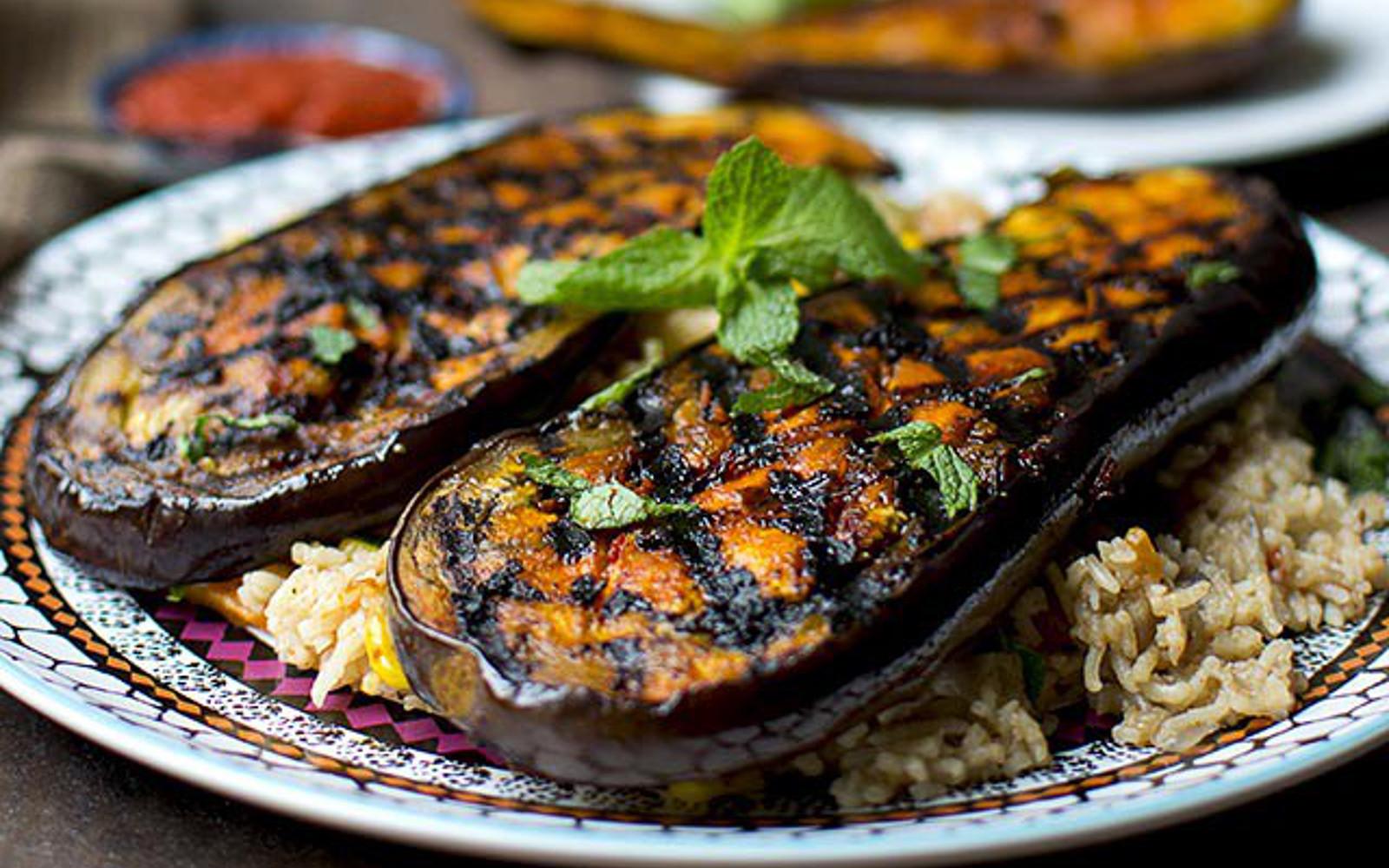 Harissa Grilled Eggplant d
