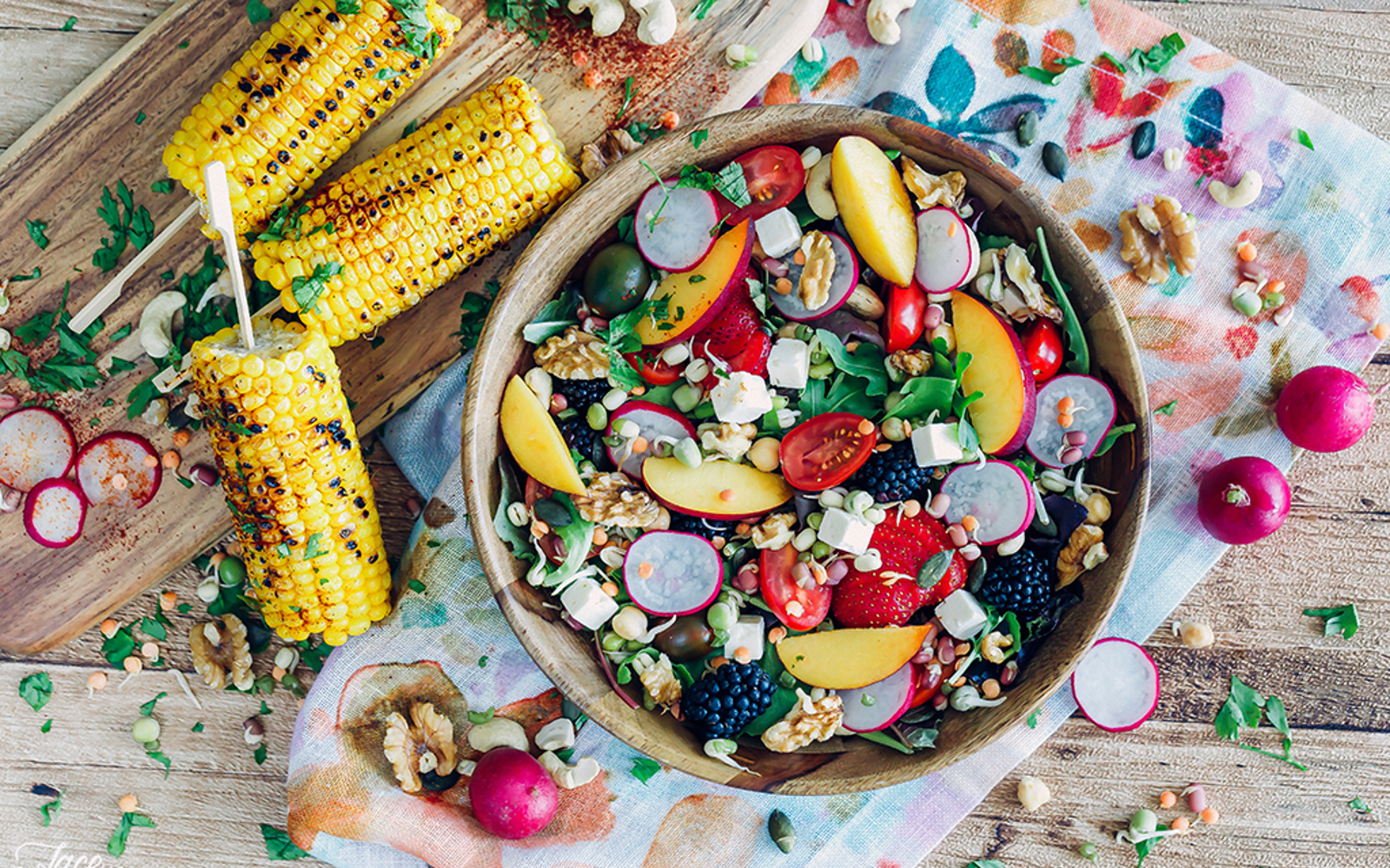 Vegan Bohemian Summer Salad With Grilled Corn