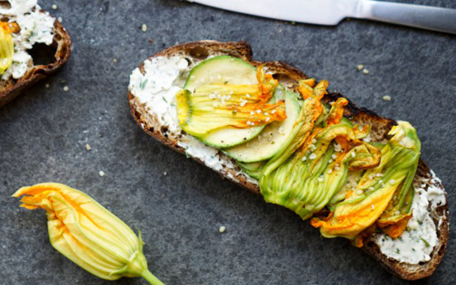 Simple Squash Blossom, Zucchini, and Cashew Cheese Toast