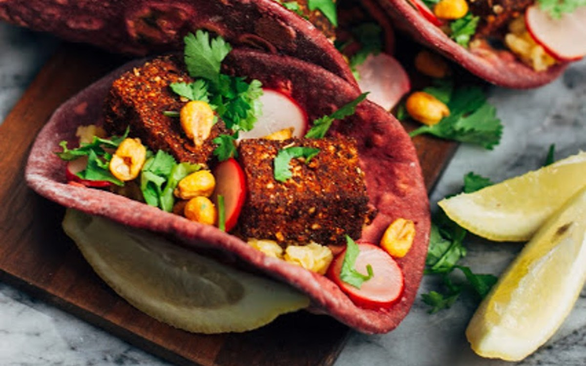 Beet Tacos with Mung Beans with Blackened Tofu, Radish Slaw, and Crispy Corn