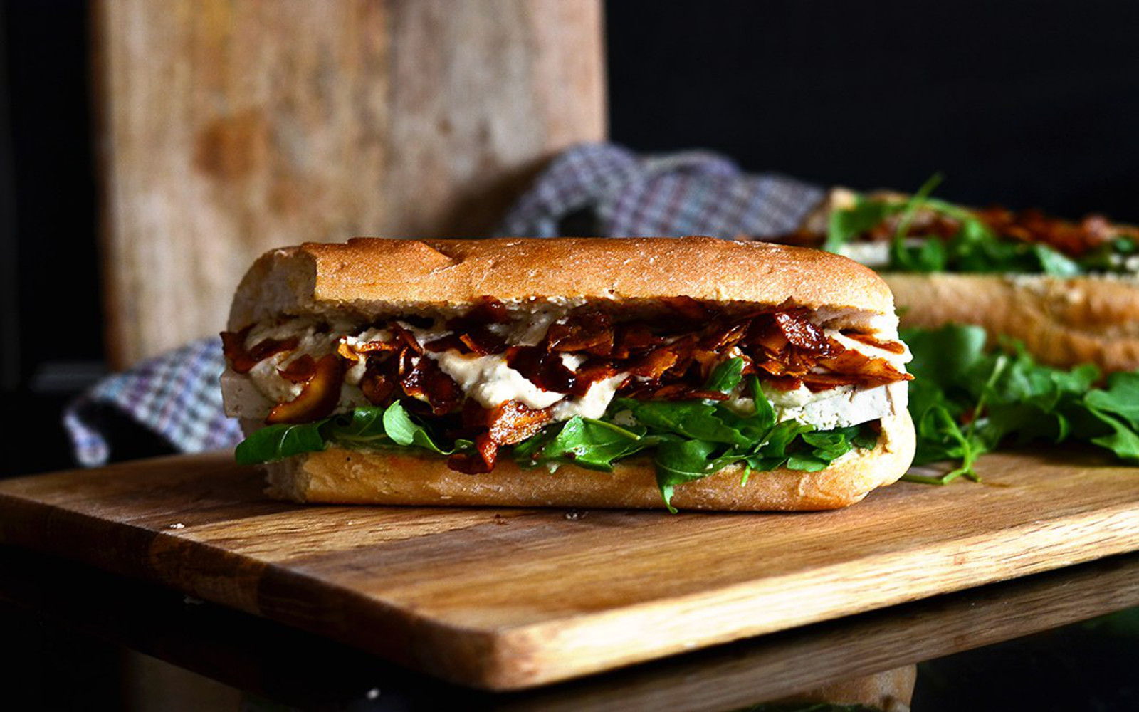 Vegan Tofu and Coconut Bacon Caesar Sub