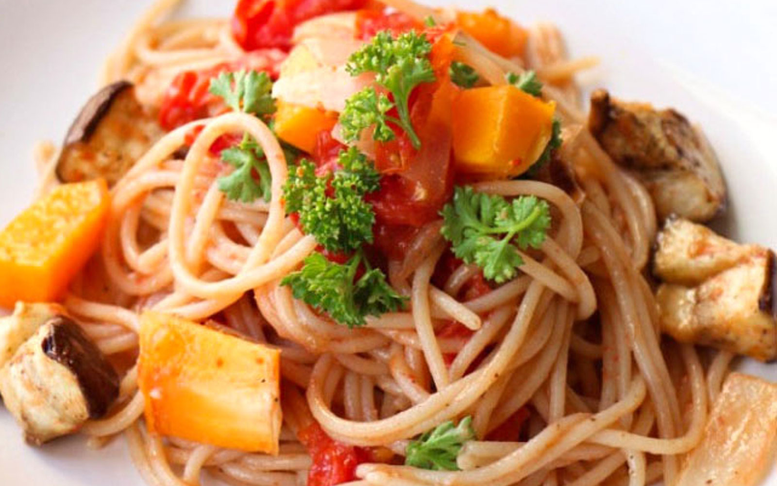 vegan Roasted Ratatouille Spaghetti