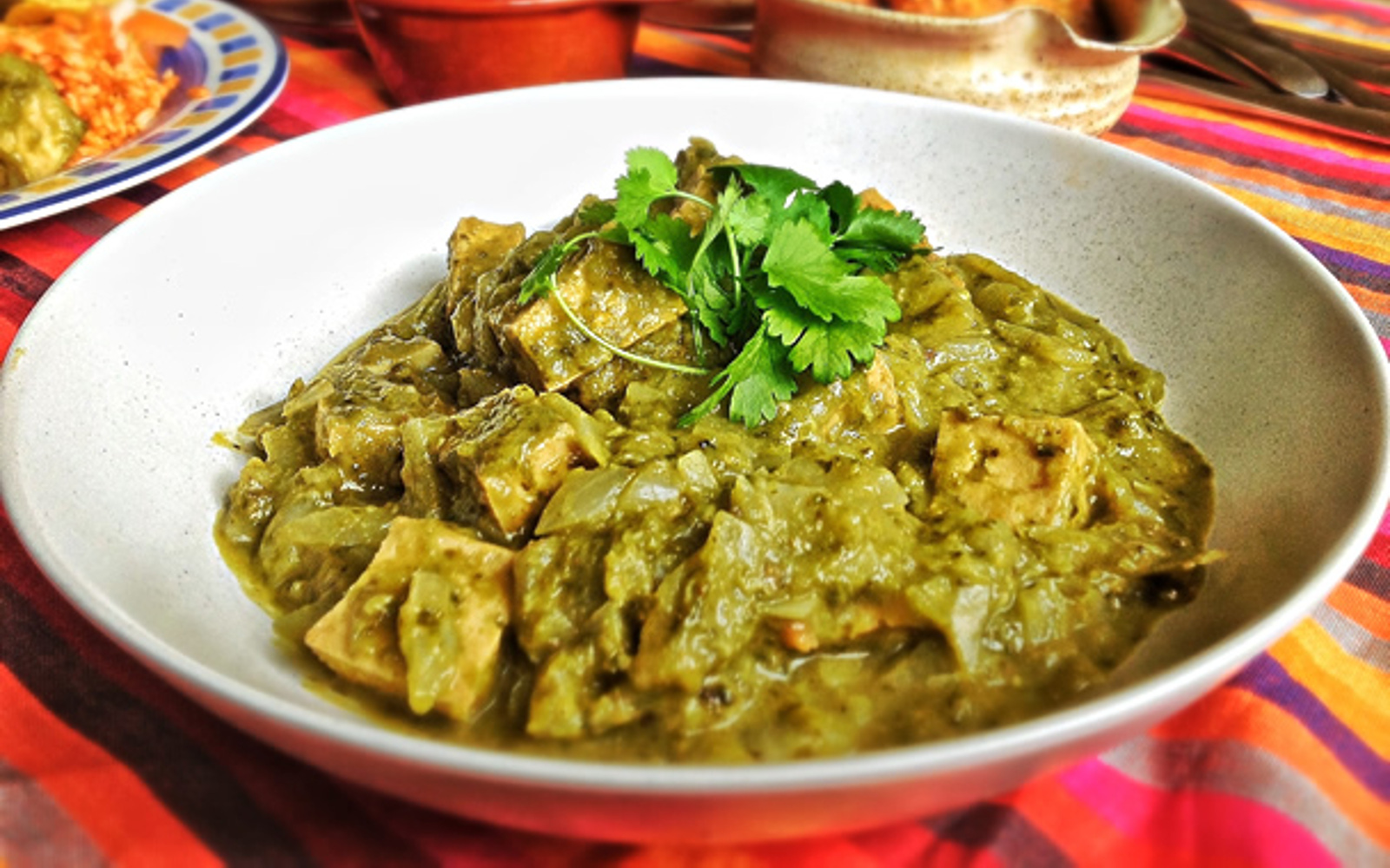 Vegan Mexican Green Chili With Tofu with herbs