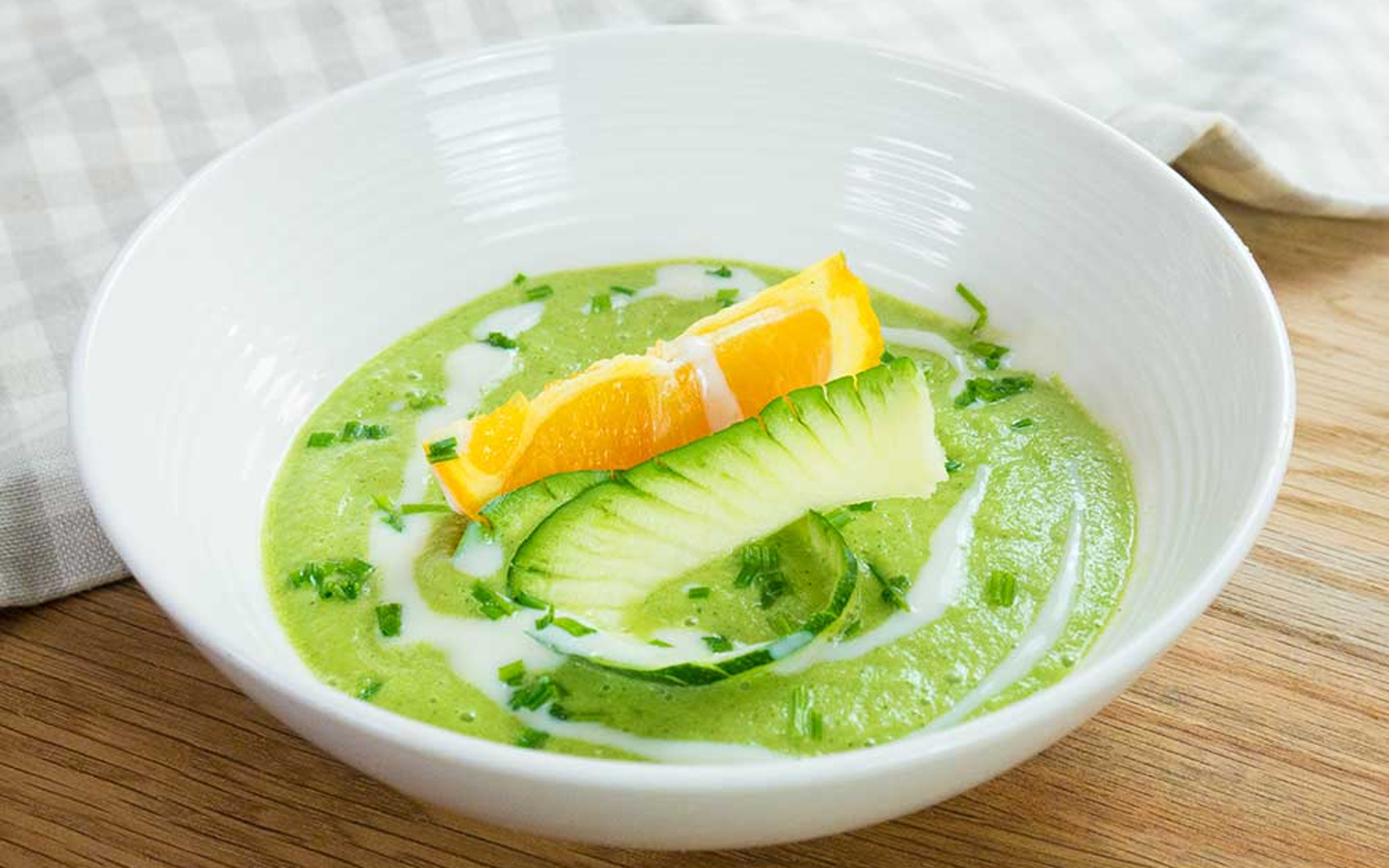 Chilled Zucchini, Orange, and Basil Soup