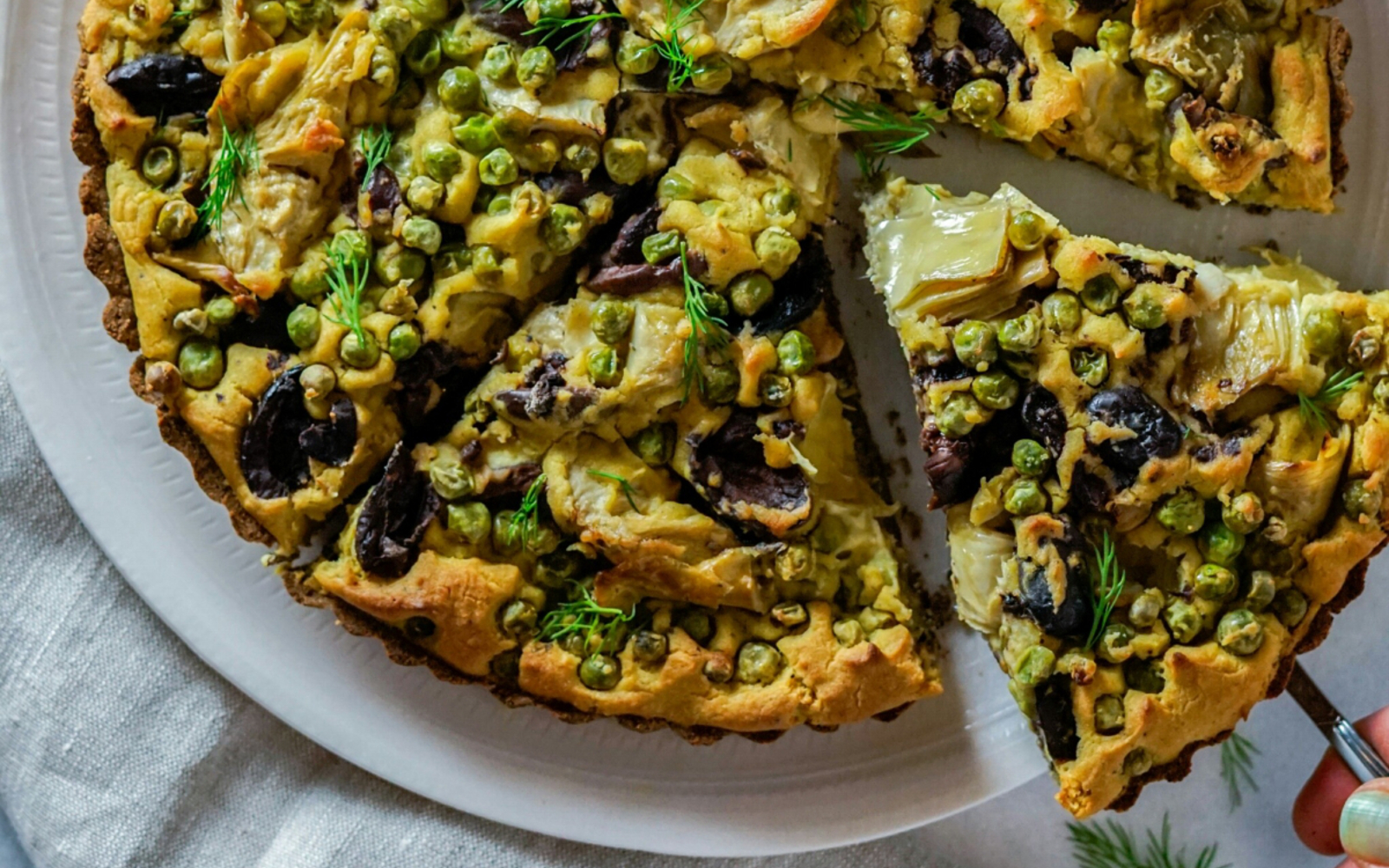Vegan Olive and Artichoke Tart With Buckwheat Crust with kalamata olives