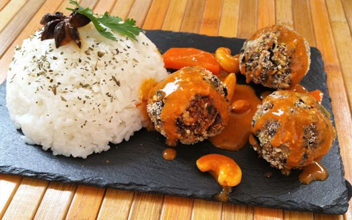 Vegan Albónidigas: Black Bean Meatballs With Tomato Coconut Sauce