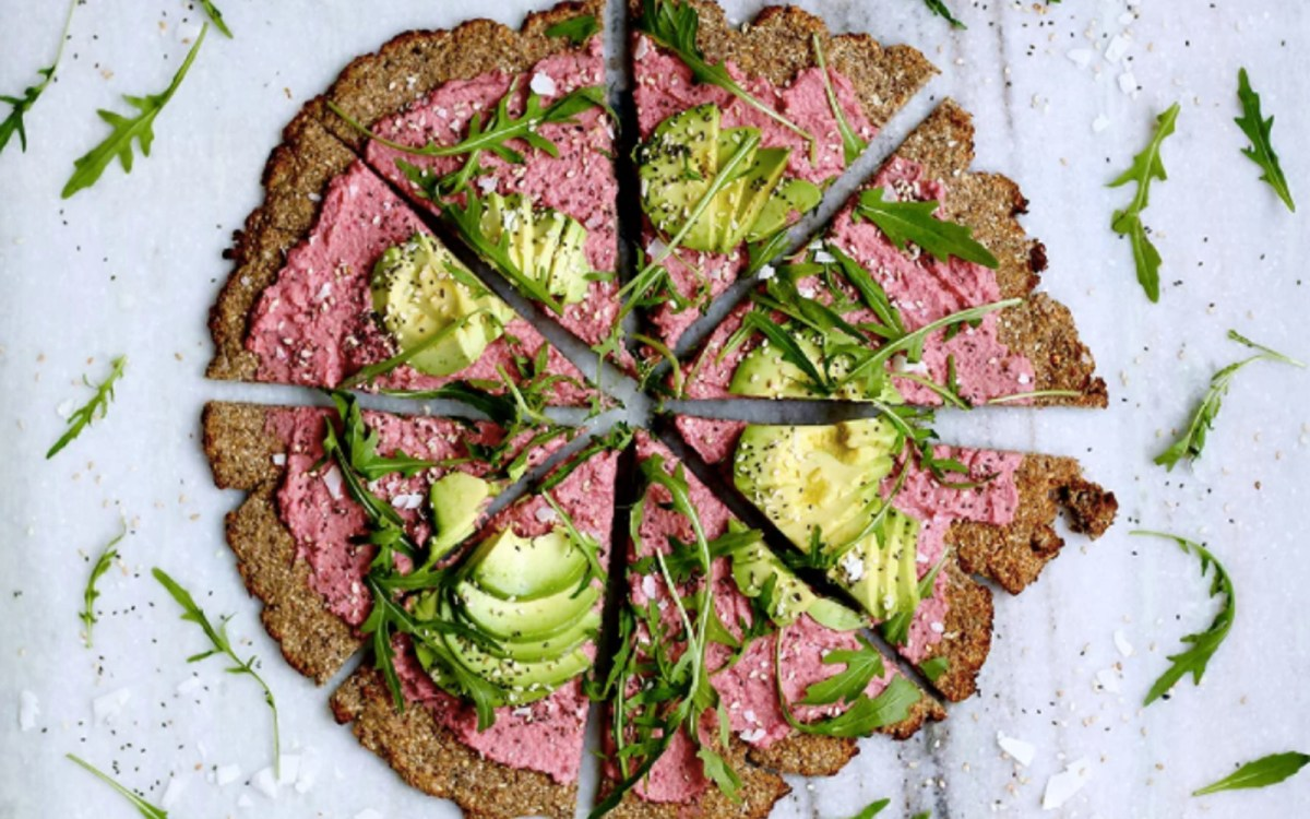 Vegan Gluten-Free Grain-Free Pink Pizza With Cauliflower Crust