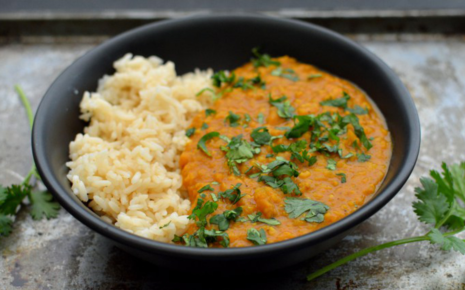 Vegan Gluten-Free Red Lentil Coconut Curry with side of rice