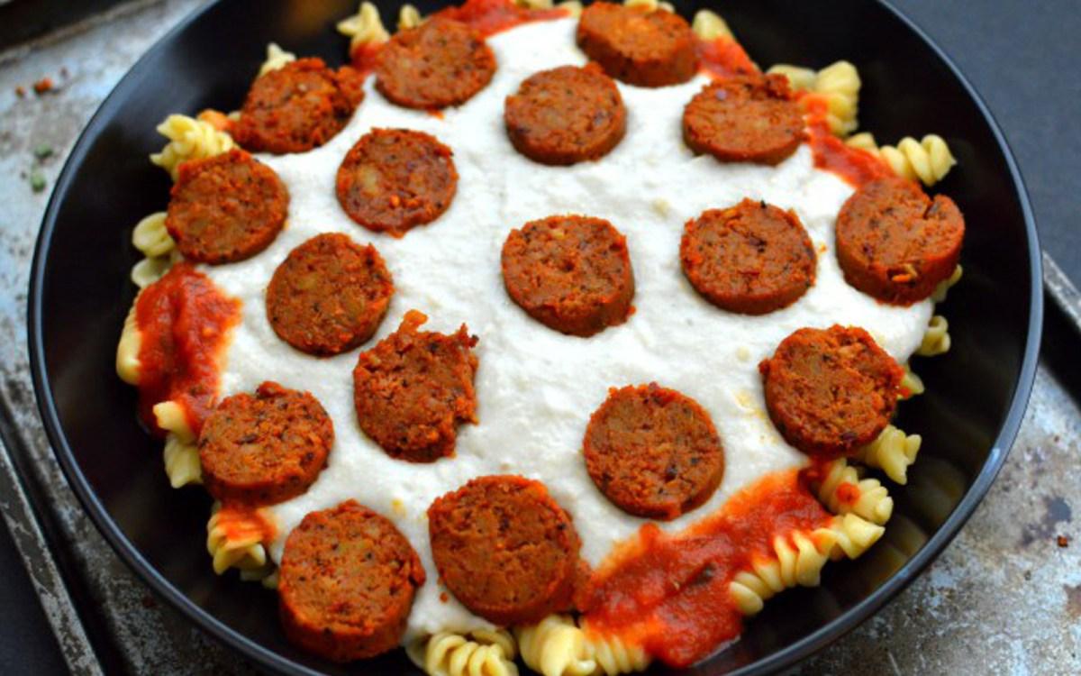 Vegan Pepperoni Pizza Pasta With Homemade Mozzarella