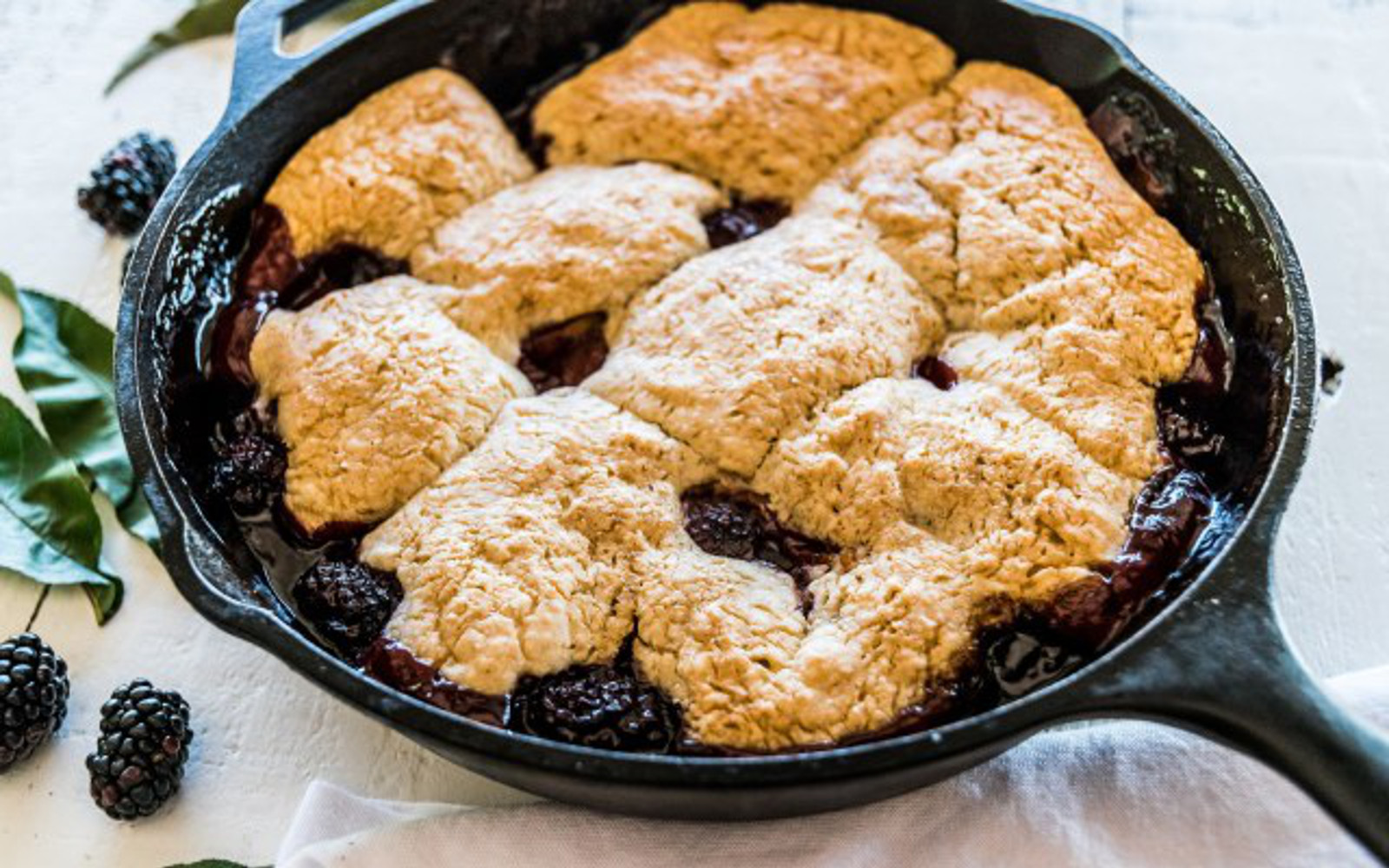 Vegan Blackberry Peach Cobbler With Ginger Spice Biscuits