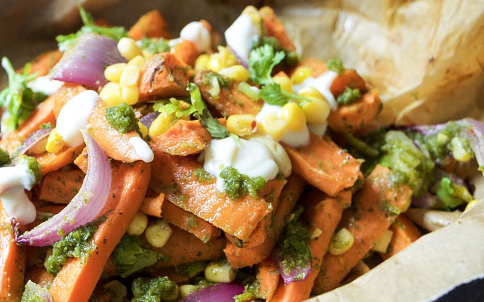 Vegan Grain-Free Roasted Carrot Salad With Charred Scallion Cilantro Pesto