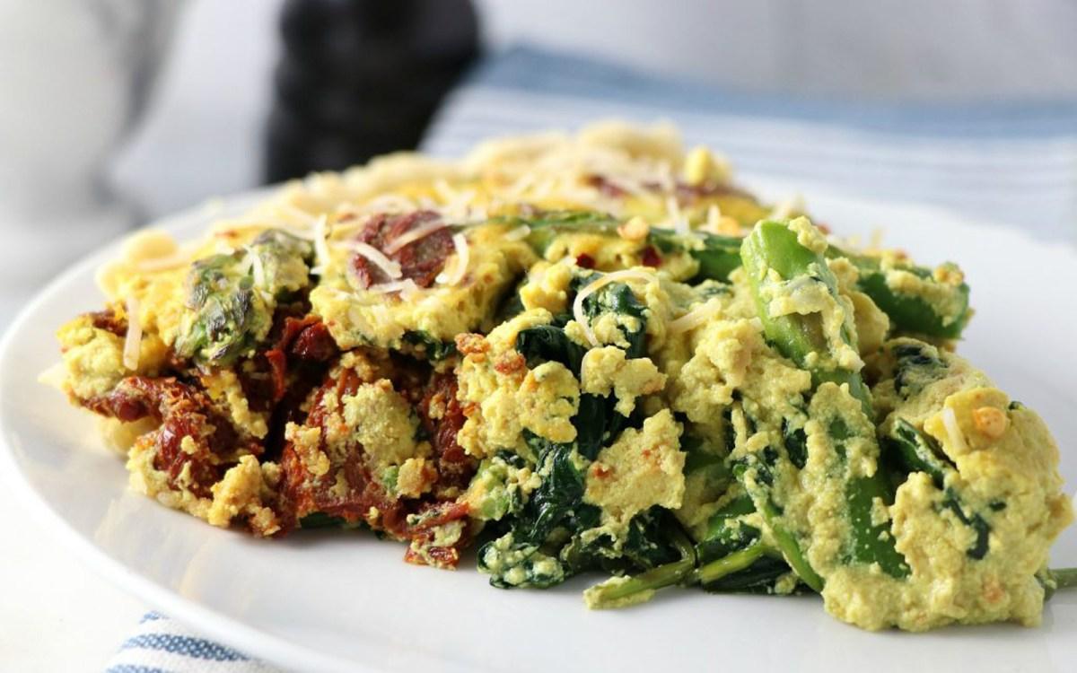 Vegan Italian Spinach and Tomato Quiche