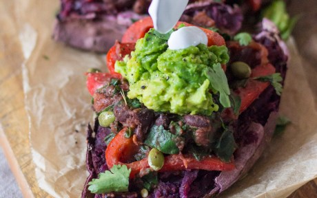 Vegan Grain-Free Black Bean Chili Stuffed Sweet Potatoes with guacamole
