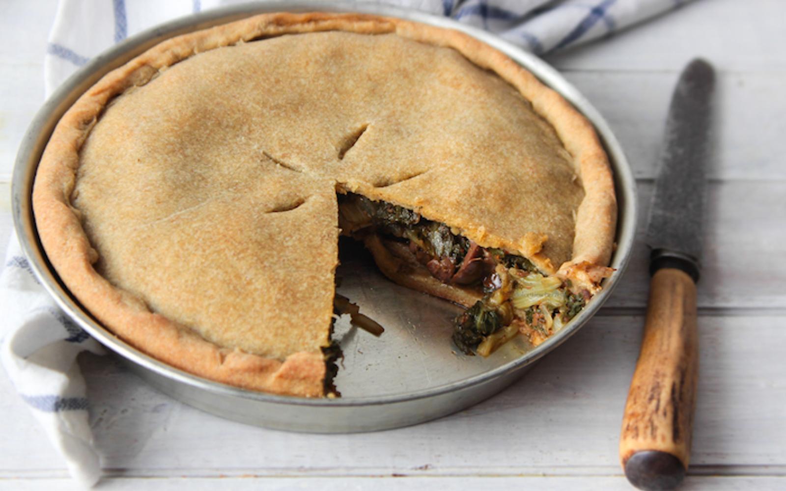 Vegan Beet and Olive Pie With Quinoa Flour Crust