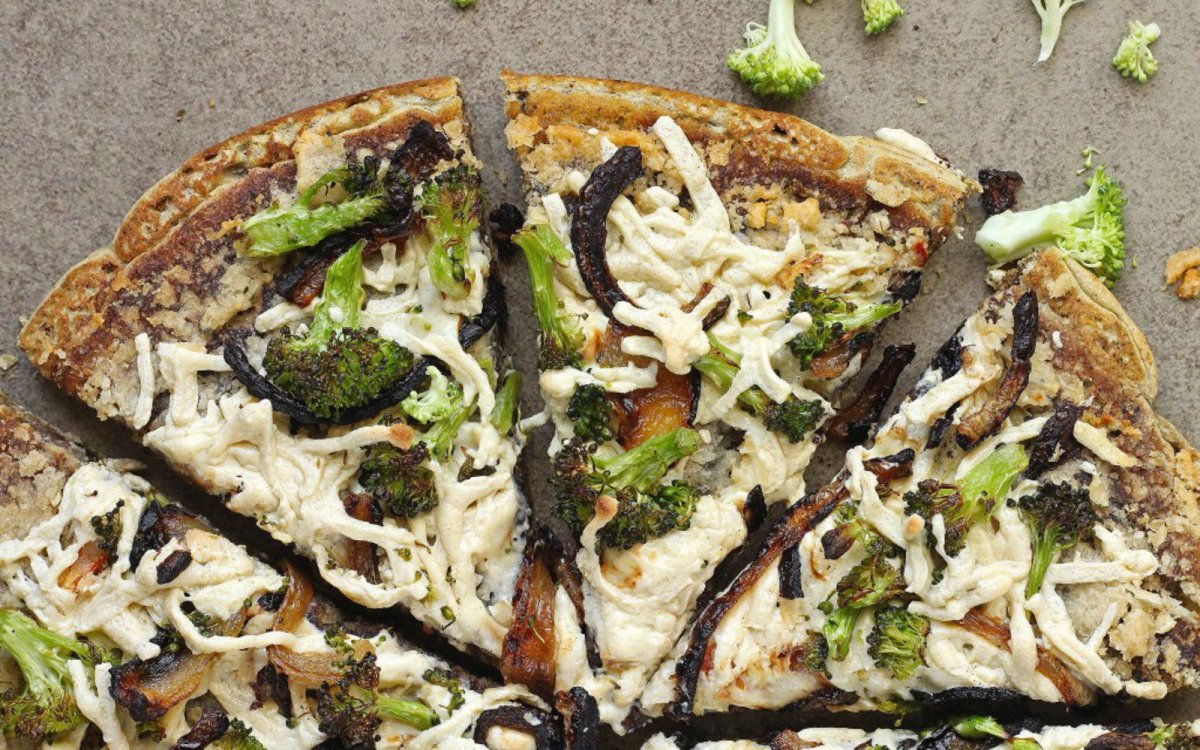 Vegan Gluten-Free Broccoli and Caramelized Onion Hummus Pizza
