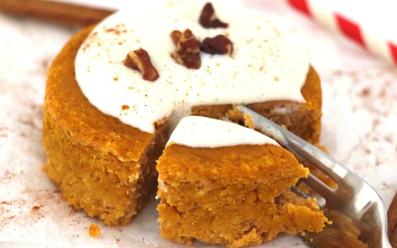 Vegan Gluten-Free Oil-free Pumpkin Spice Mug Cake with frosting
