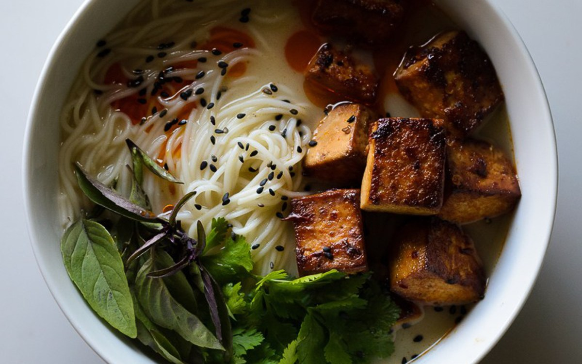 vegan Thai Coconut Curry Soup With Spicy Sesame