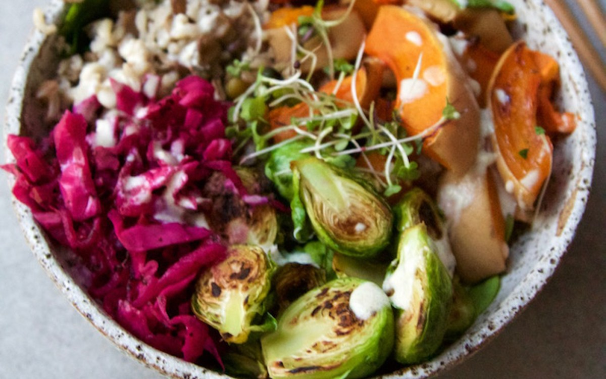 Autumn Rice and Lentil Nourish Bowl With Brussels Sprouts and Pumpkin