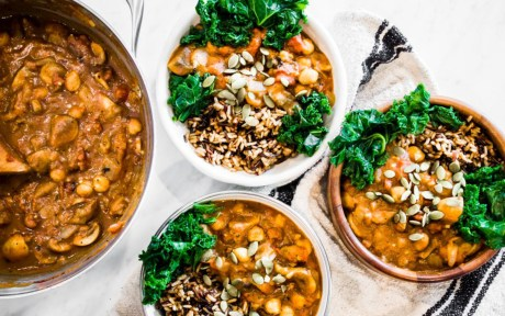 Vegan Gluten-Free Pumpkin Chili With Wild Rice with garnish