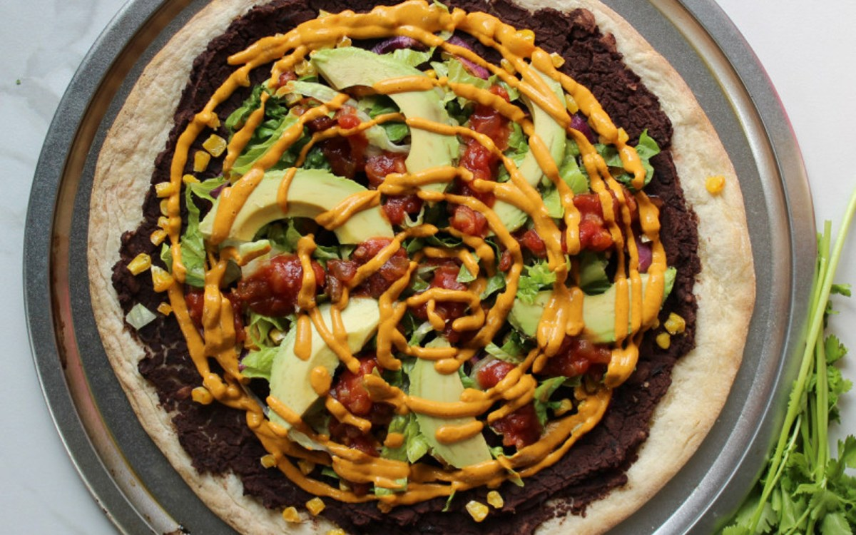 Vegan Gluten-Free Mexican Refried Bean Pizza