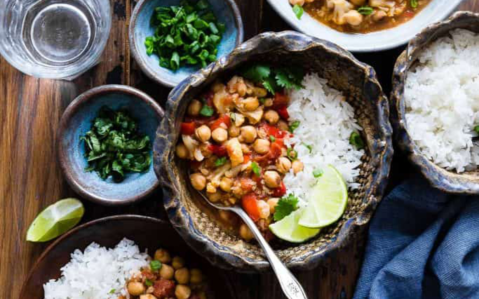 Vegan Gluten-Free Easy Cauliflower Chickpea Curry with a side of rice