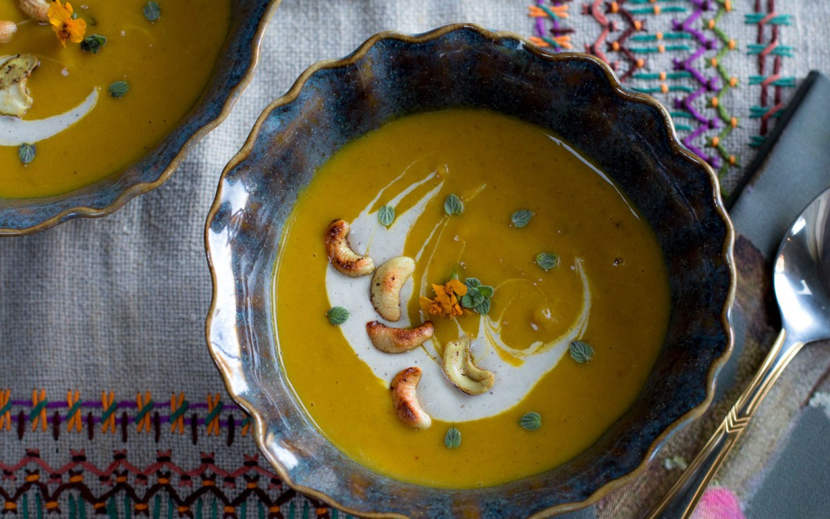 Kabocha Squash Soup With Apples and Cashew Crema