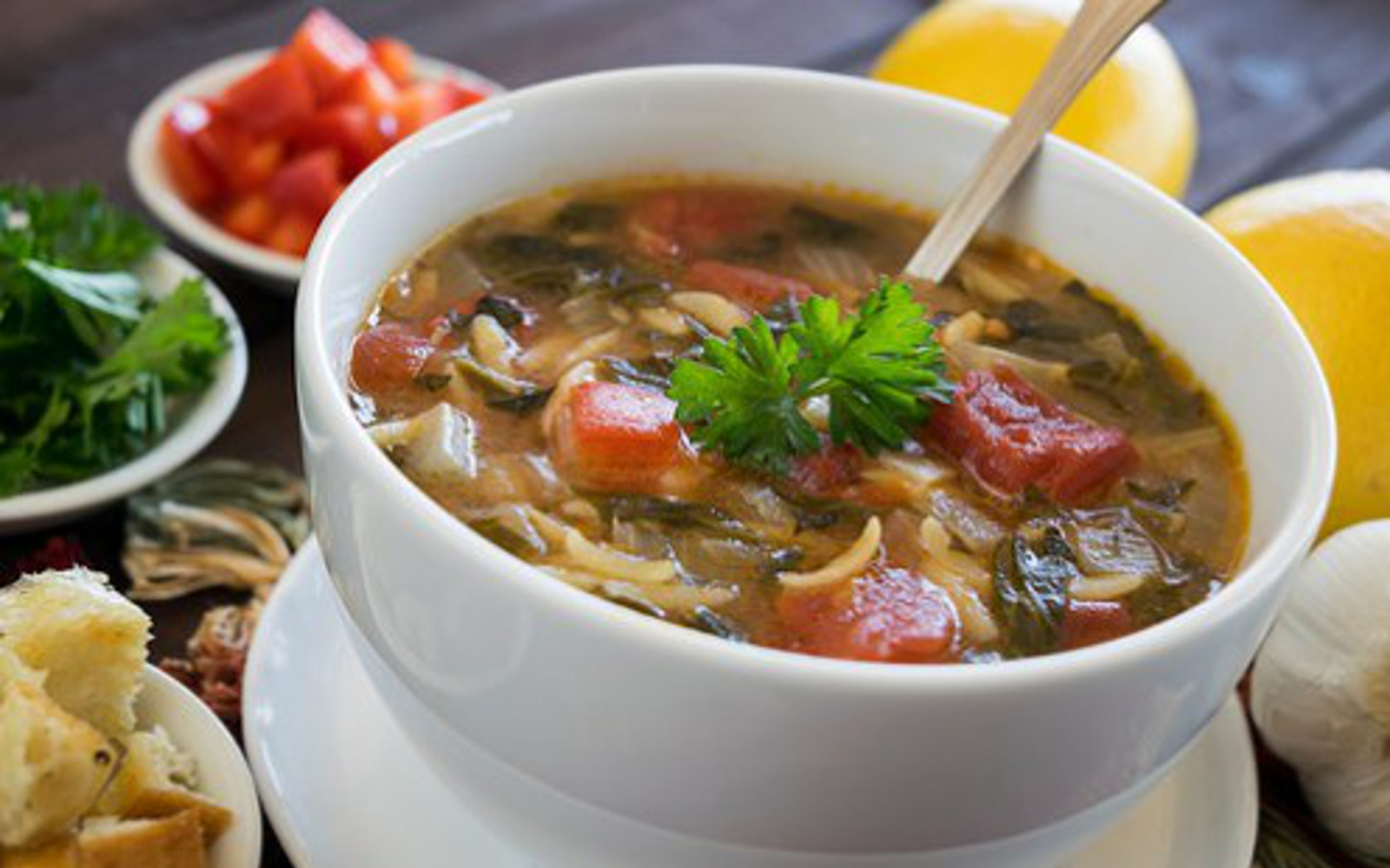 Bowl of Vegan Nut-Free Greek Spinach and Orzo Soup