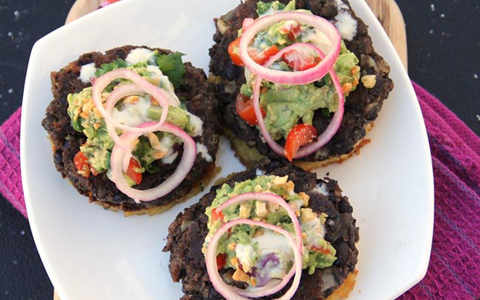 Cilantro Black Bean Burgers Over Polenta Cakes [Vegan, Gluten-Free]