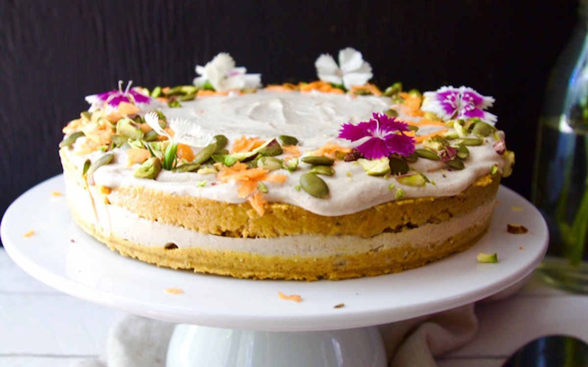Vegan Gluten-Free Nutritious Carrot Cake With Creamy Lemon Orange Frosting